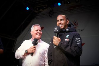 Johnny Herbert, Sky Sports F1, and Lewis Hamilton, Mercedes AMG F1, on stage