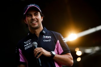 Sergio Perez, Racing Point on stage in the fan zone