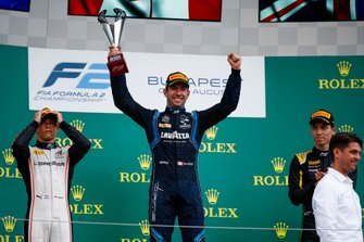Race winner Nicholas Latifi, Dams celebrates on the podium with the trophy and Nyck De Vries, ART Grand Prix and Jack Aitken, Campos Racing
