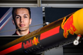 Alex Albon, Red Bull Racing board on the garage