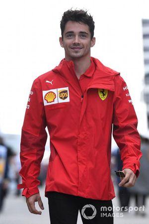 Charles Leclerc, Ferrari arrives at the track