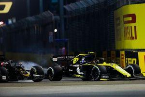 Romain Grosjean, Haas F1 Team VF-19, lotta con Nico Hulkenberg, Renault F1 Team R.S. 19