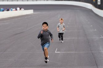 Cash Bowyer leads Owen Larson on the front straight after the race