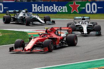 Charles Leclerc, Ferrari SF90 leads at the start