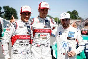 Top 3 after Qualifying, pole sitter Nico Müller, Audi Sport Team Abt Sportsline, Philipp Eng, BMW Team RBM, Loic Duval, Audi Sport Team Phoenix