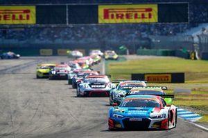 Patric Niederhauser, Kelvin van der Linde, Audi R8 LMS GT3, HCB-Rutronik Racing, lead the pack