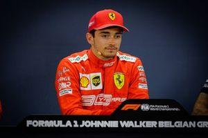 Polesitter Charles Leclerc, Ferrari in the press conference