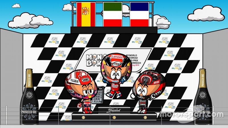 El podio del GP de Austria de MotoGP 2019, por MiniBikers