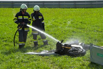 MotoE bike on fire