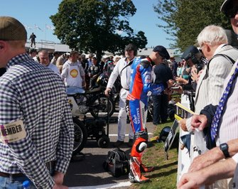 Peter Hickman signs autographs in the assembly area