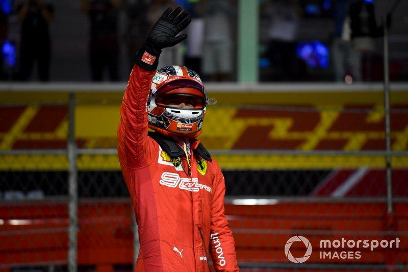 Pole man Charles Leclerc, Ferrari, festeggia l'arrivo al Parc Ferme