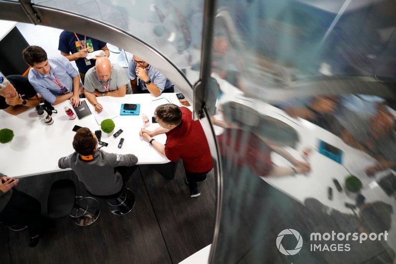 Lando Norris, McLaren, talks to the media