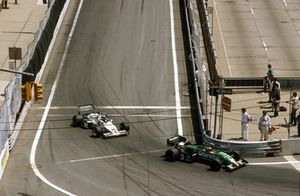 Michele Alboreto, Tyrrell 011 Ford, 1° classificato, davanti a Keke Rosberg, Williams FW08C Ford, 2° classificato