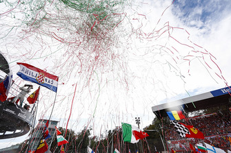 Lewis Hamilton, Mercedes AMG F1, first position, celebrates on the podium as streamers fall