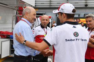 Peter Sauber, propriétaire de Sauber et Charles Leclerc, Alfa Romeo Sauber F1 Team