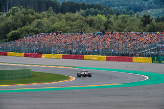 Max Verstappen, Red Bull Racing RB14 infront of fans