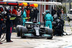 Lewis Hamilton, Mercedes W12, leaves his pit box