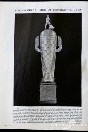 1936 Indy 500 program, Borg-Warner Trophy