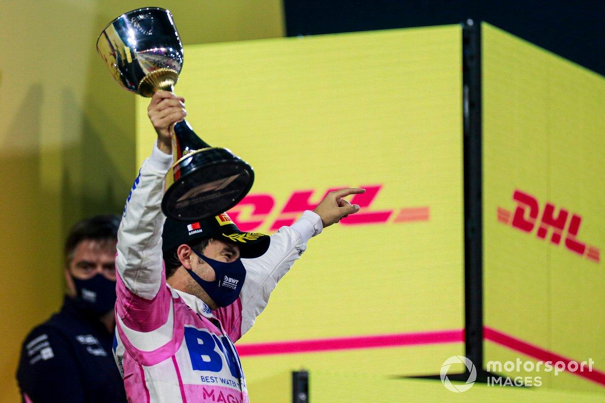 Sergio Perez, Racing Point festeggia la vittoria sul podio
