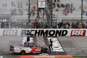 John Hunter Nemechek, Kyle Busch Motorsports, Toyota Tundra Safeway, celebrates in Victory Lane.