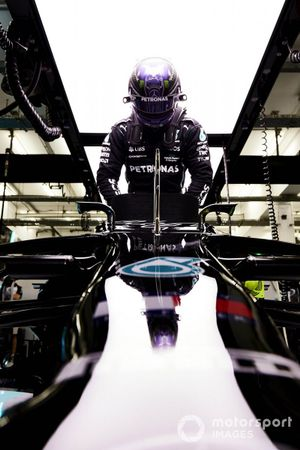 Lewis Hamilton, Mercedes, in his cockpit