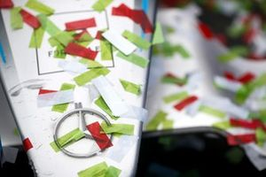 Confetti on the car of Stoffel Vandoorne, Mercedes-Benz EQ, EQ Silver Arrow 02, 1st position, after the podium ceremony