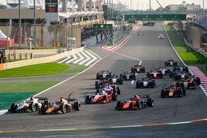Nikita Mazepin, Hitech Grand Prix, Yuki Tsunoda, Carlin, Robert Shwartzman, Prema Racing and Felipe Drugovich, MP Motorsport