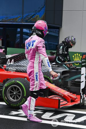 Lance Stroll, Racing Point, in Parc Ferme