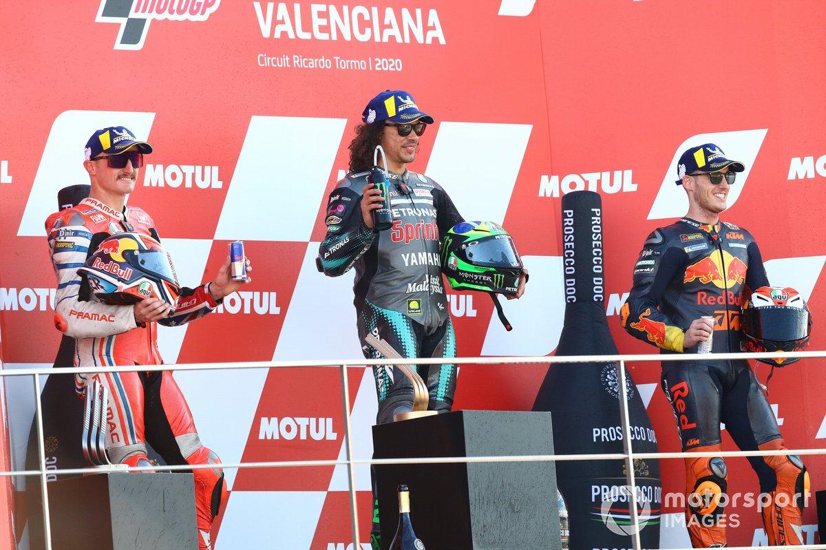 Podio: 1º Franco Morbidelli, Petronas Yamaha SRT, 2º Jack Miller, Pramac Racing, 3º Pol Espargaro, Red Bull KTM Factory Racing