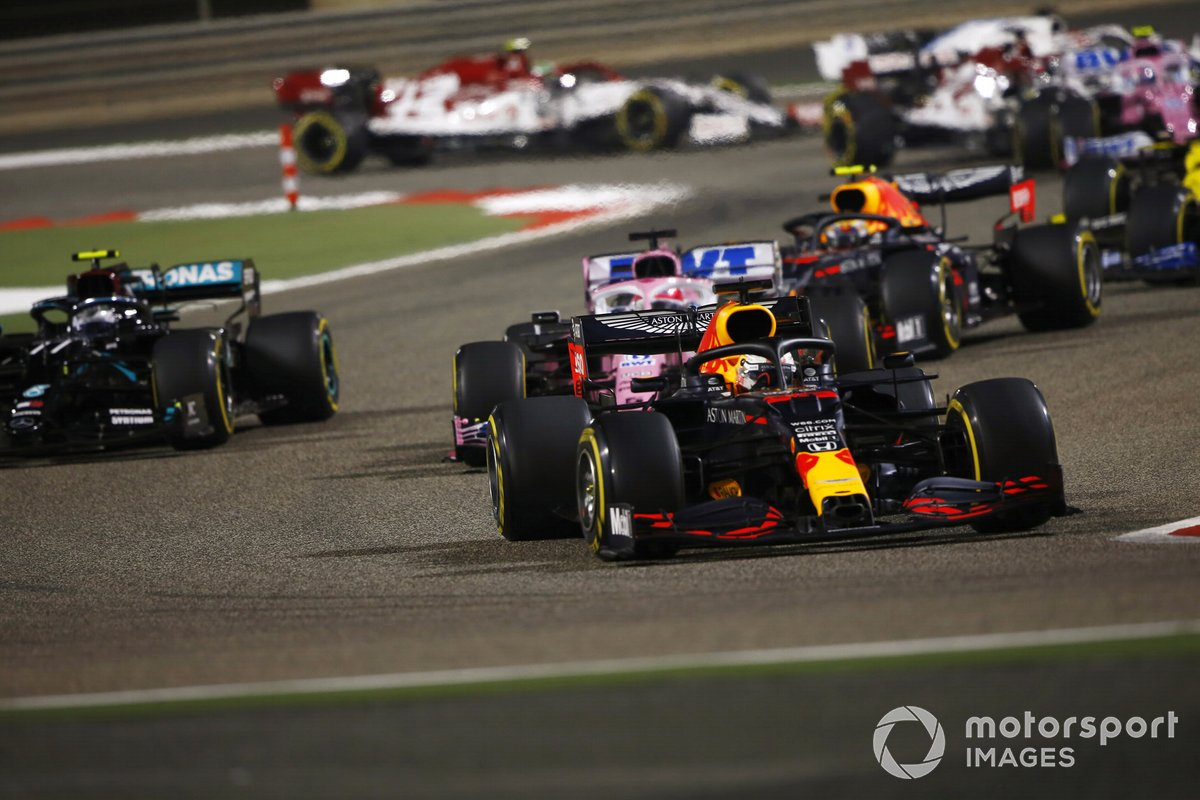 Max Verstappen, Red Bull Racing RB16, Sergio Pérez, Racing Point RP20, Valtteri Bottas, Mercedes F1 W11, Alex Albon, Red Bull Racing RB16
