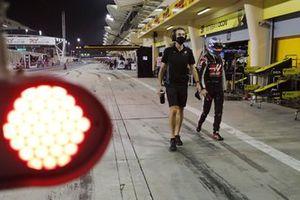 Romain Grosjean, Haas F1, in the pit lane