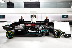 Mercedes AMG F1 W12 with Lewis Hamilton, Toto Wolff and Valtteri Bottas