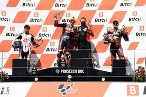 Raul Fernandez, Red Bull KTM Ajo, Ai Ogura, Honda Team Asia, Augusto Fernandez, Marc VDS Racing Team podium race