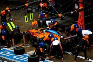 Lando Norris, McLaren MCL35M, makes a stop during Qualifying