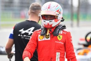 Charles Leclerc, Ferrari, in Parc Ferme after Qualifying