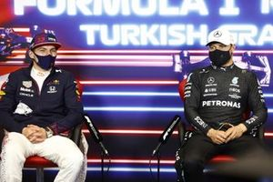 Max Verstappen, Red Bull Racing, 2nd position, and Valtteri Bottas, Mercedes, 1st position, in the Press Conference