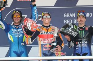 Podium: race winner Marc Marquez, Repsol Honda Team, second place Alex Rins, Team Suzuki MotoGP, third place Maverick Vinales, Yamaha Factory Racing