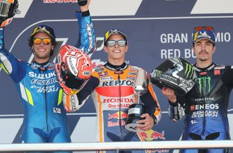 Podium: race winner Marc Marquez, Repsol Honda Team, second place Alex Rins, Team Suzuki MotoGP, third place Maverick Vinales, Yamaha Factory Racing