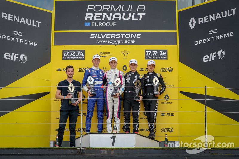 Podium race 2: winner Oscar Piastri, R-ACE GP, second place Alexander Smolyar, R-ACE GP, third place Victor Martins, MP motorsport, rookie Caio Collet, R-ACE GP