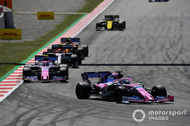 Sergio Perez, Racing Point RP19, leads Lance Stroll, Racing Point RP19, Antonio Giovinazzi, Alfa Romeo Racing C38, and Lando Norris, McLaren MCL34