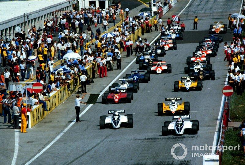 Рядом с бразильцем на первом ряду расположился его напарник Риккардо Патрезе. Последующие места также достались пилотам, чьи машины располагали турбомоторами: Тамбэ разбил дуэт Renault, в котором Ален Прост опередил своего партнера по команде Рене Арну