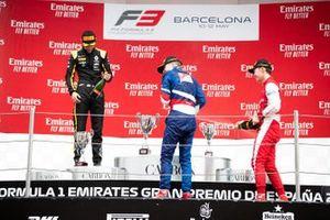 Podium: race winner Robert Shwartzman, PREMA Racing, second place Christian Lundgaard, ART Grand Prix, third place Marcus Armstrong, PREMA Racing