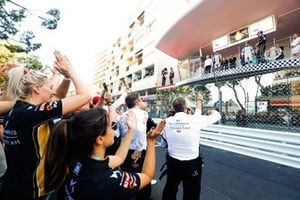 The DS TECHEETAH team celebrate victory under the podium