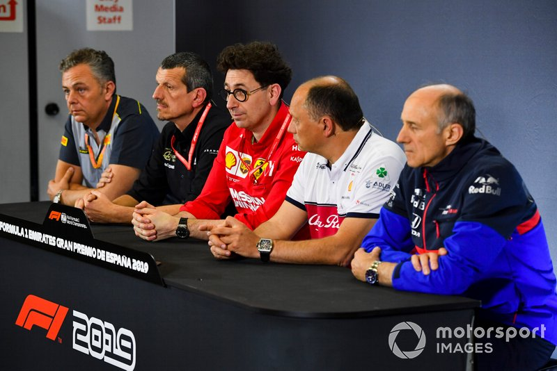 Mario Isola, Racing Manager, Pirelli Motorsport, Guenther Steiner, Team Principal, Haas F1, Mattia Binotto, Team Principal Ferrari, Frederic Vasseur, Team Principal, Alfa Romeo Racing, and Franz Tost, Team Principal, Toro Rosso, in the team principals Press Conference