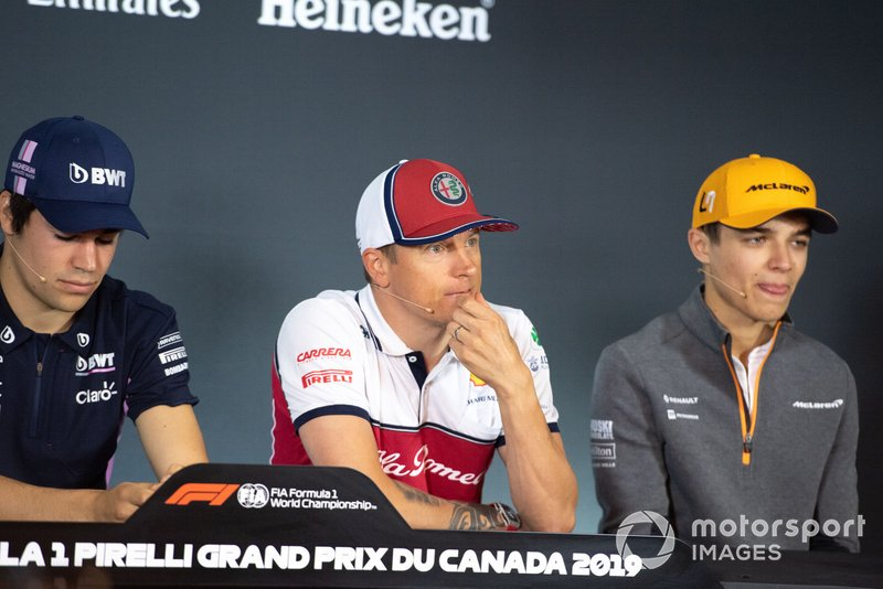 Lance Stroll, Racing Point, Kimi Raikkonen, Alfa Romeo Racing and Lando Norris, McLaren