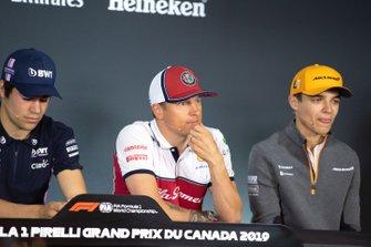 Lance Stroll, Racing Point, Kimi Raikkonen, Alfa Romeo Racing and Lando Norris, McLaren
