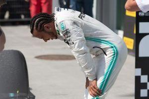 Lewis Hamilton, Mercedes AMG F1, 1st position, catches his breath in Parc Ferme