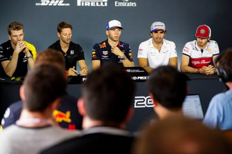 Nico Hulkenberg, Renault F1 Team, Romain Grosjean, Haas F1, Pierre Gasly, Red Bull Racing, Carlos Sainz Jr., McLaren and Antonio Giovinazzi, Alfa Romeo Racing in Press Conference