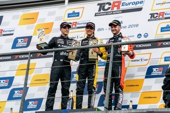Podium: Race winner Gilles Magnus, Comtoyou Racing Audi RS 3 LMS, second place Santiago Urrutia, Team WRT Audi RS 3 LMS, third place Maxime Potty, Team WRT Volkswagen Golf GTI TCR