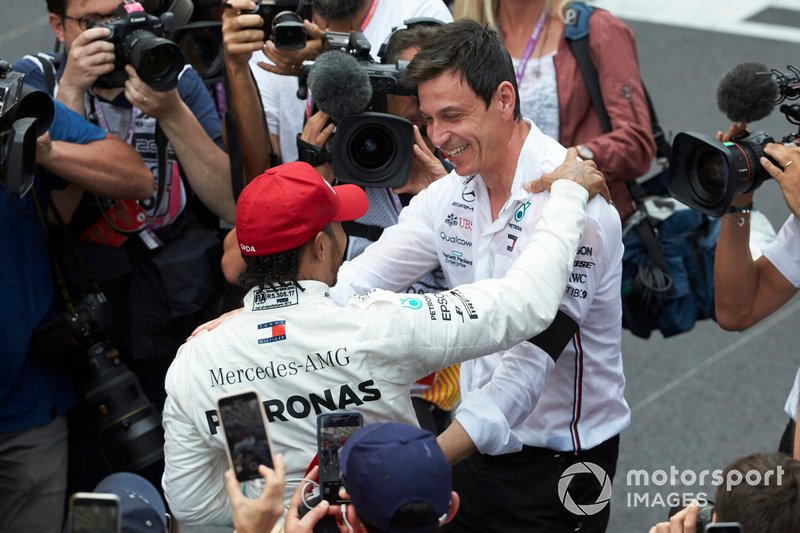 Lewis Hamilton, Mercedes AMG F1, 1st position, celebrates after the race with Toto Wolff, Executive Director (Business), Mercedes AMG